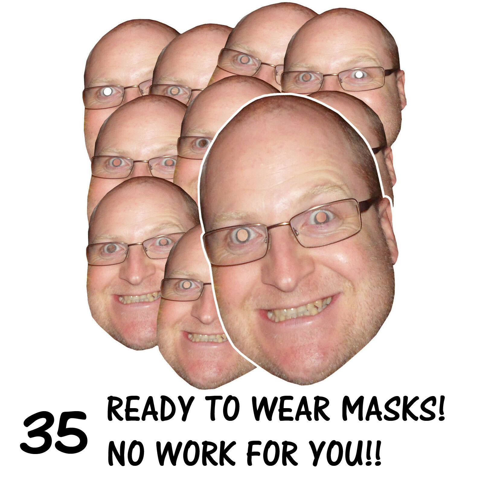 35 x PERSONALISED FUN FACE MASKS - STAG HEN PARTY - SEND US YOUR PIC - FREE P&P