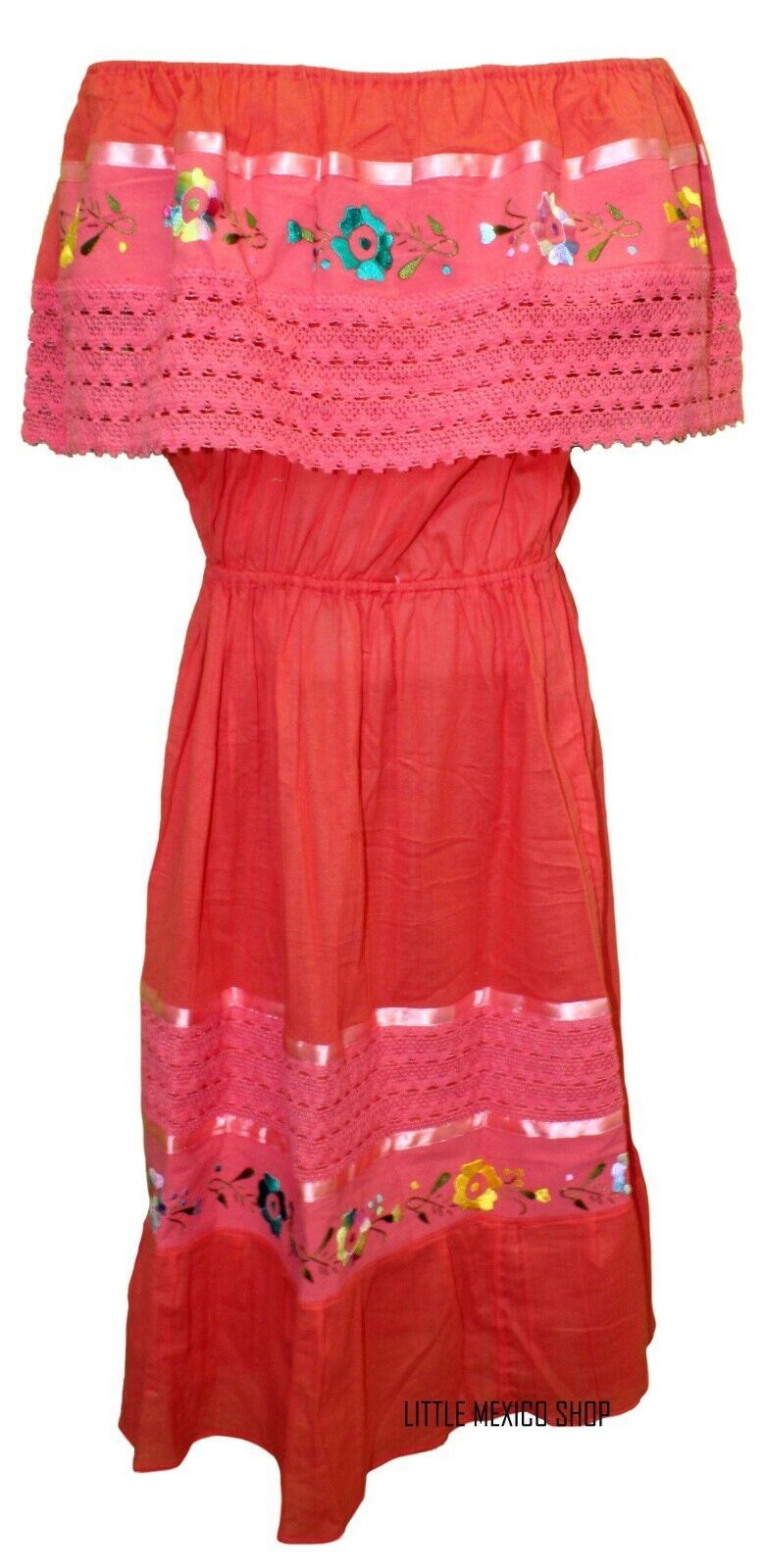 CORAL Mexican Peasant Off Shoulder Dress Fits Med-XL Embroiderot Floral Crochet