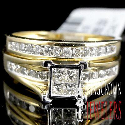 10k Yellow Gold Princess Cut Round Diamonds Engagement Bridal Set Wedding Rings