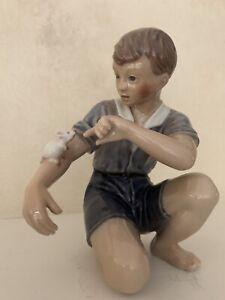 "Dahl Jensen Copenhagen Denmark  Porcelain figurine ""Boy with Mouse Denmark 1270"