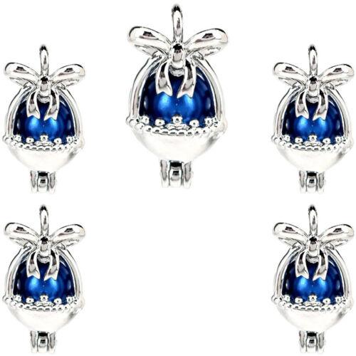 5PCS argent cuivre Panier à fleurs nœud perles cage Médaillon Pendentif K1234
