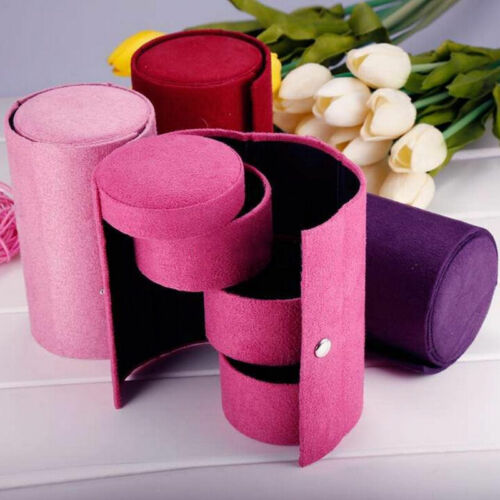 Compartment Mini Velvet Roll Up Jewelry Snap Closure Box Case Organizer Holder