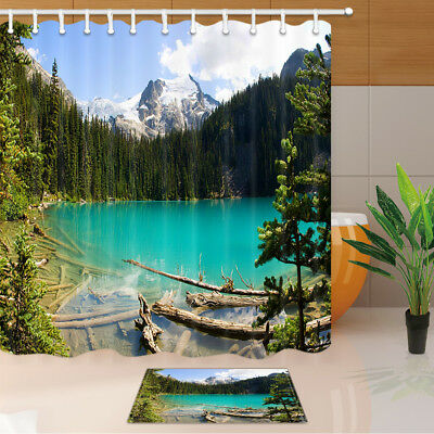 Green forest and river Shower Curtain Bathroom Decor Fabric /& 12hooks 71*71inch