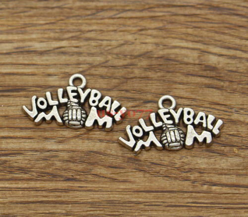 20pcs Volleyball Sports Mom Charms Mother Charms Antique Silver Tone 13x24 1579