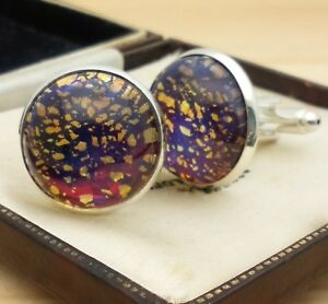 Vintage-Red-Blue-Gold-Fire-Glass-Opal-Large-Round-Silvertone-Cufflinks