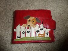Lavishy Red  Leather Wallet Applique Dog with interior coin area, EUC