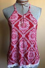 NWT Tilly's Full Tilt Red Boho Halter Top Crocheted Hem Fit-n-Flare Size Medium