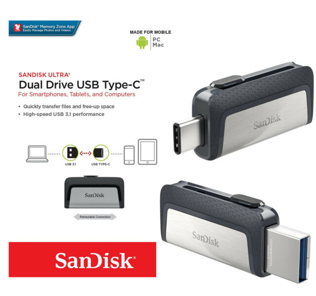 Type-C SanDisk 32GB 64GB 128GB 256GB 16GB Dual USB 3.1 Flash Drive MacBook PC