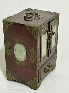 cofanetto cinese portagioie intarsiato in legno e ottone vintage