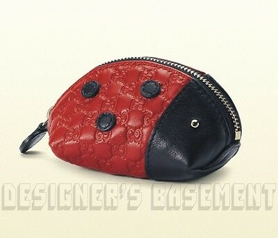 GUCCI red/black Micro Guccissima LADYBUG Zoo Collection Coin purse NIB Authentic