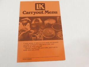 Vintage 1980's L-K Family Restaurants and Motels Room Service Menu