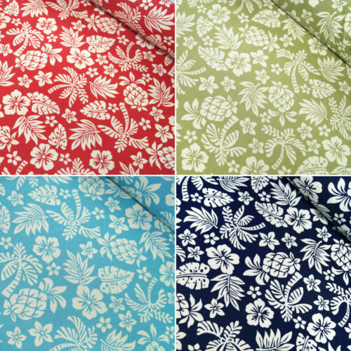 100/% Cotton Poplin Fabric Rose /& Hubble Tropical Paradise Funky Floral Flowers