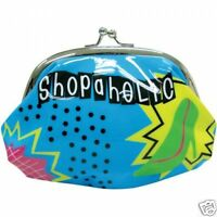 Shopaholic High Gloss Snap Coin Purse Cosmetic Bag Silver Snap Kiss Closure