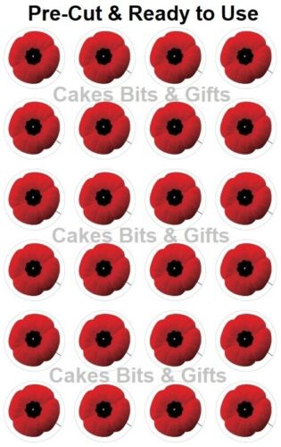 24x Remembrance POPPY Edible Wafer Cupcake Toppers Pre Cut Ready to Use POPPIES