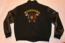 FIRE DEPT FIREFIGHTER'S EMBROIDERED JACKET! LOGOS FRONT & BACK/WOOL & LEATHER XL