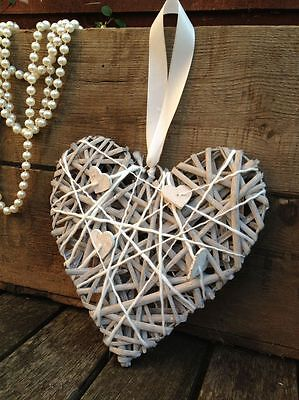 Grey Wicker Willow Hanging Heart Vintage Wedding Wreath Rustic Chic Decoration