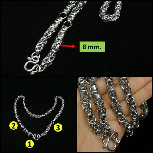 "L 28/"" 3 Hook Necklace Curb Biker Chain Stainless Steel LPThai Amulet Big size"