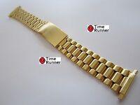 Gloss Gold Tone Mens Watch Band Bracelet