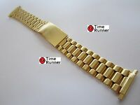 Gloss Gold Tone Mens Watch Band Bracelet