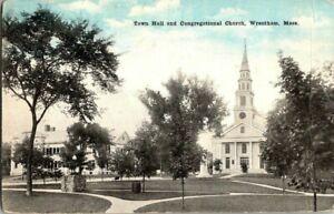 1910-WRENTHAM-MASS-TOWN-HALL-AND-CONG-CHURCH-POSTCARD-KK1