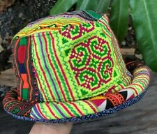 BLUE /& RAINBOW STRIPE CROCHET COTTON KNIT HIPPIE FESTIVAL BUCKET SUN HAT
