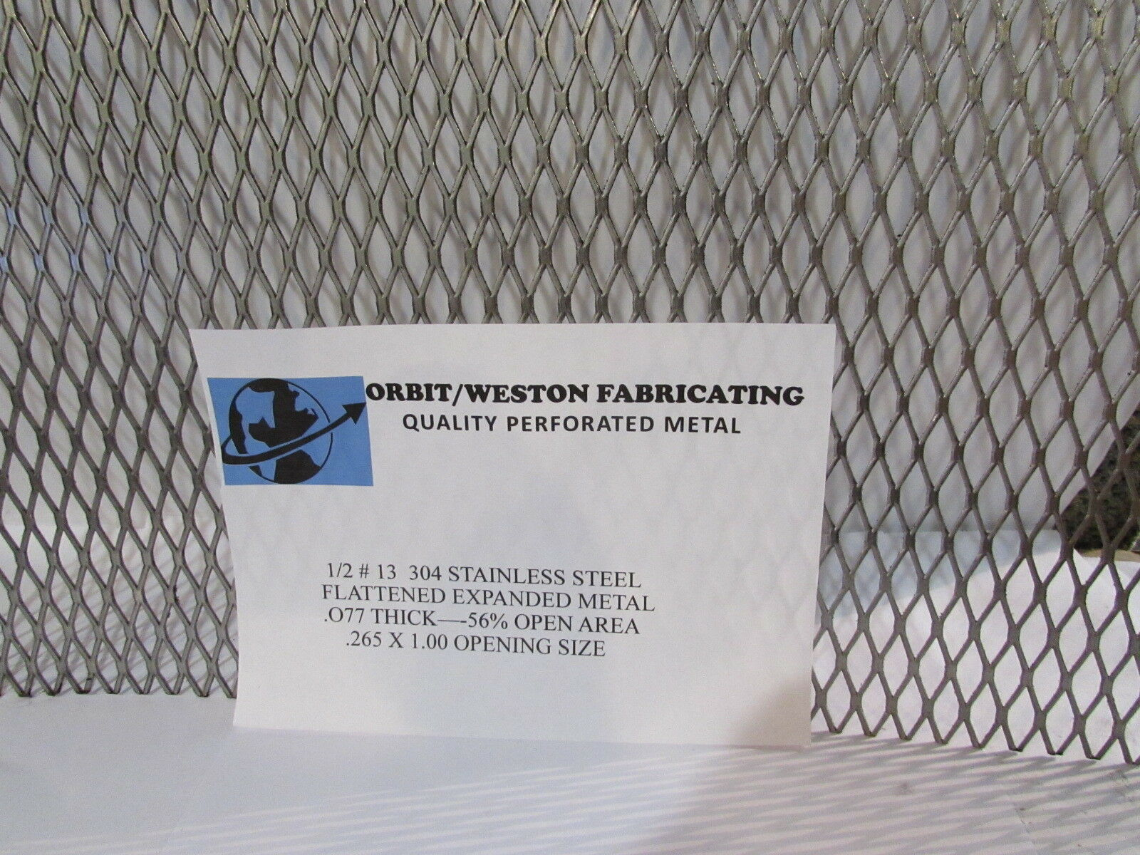 """1//2/""""--16GA 304 STAINLESS STEEL FLATTENED EXPANDED METAL   20/"""" X 20/"""""""