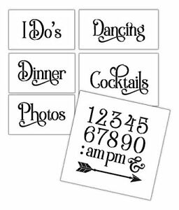 Wedding Stencil Words - Fun Stuff - Elegant Traditional 6pc Large Set -...
