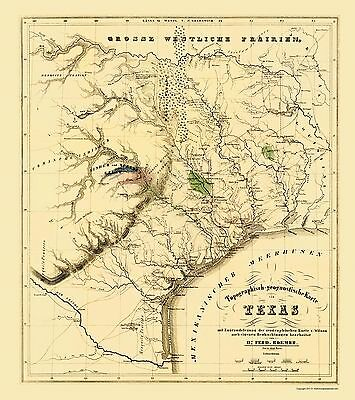 Map Of Texas During The Alamo.Texas Showing The Alamo Roemer 1849 23 X 25 90 Ebay
