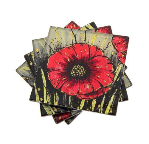 Red Poppy Design Set of 4 Glass Coasters Shudehill Giftware