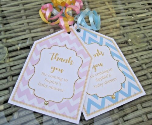 5 X BABY SHOWER PERSONALISED party bag labels party bag tags gold//pink//blue