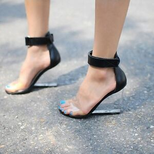Womens-Real-Leather-Open-Toe-Ankle-Strap-Wedge-Transparent-Nightclub-Pump-Sandal