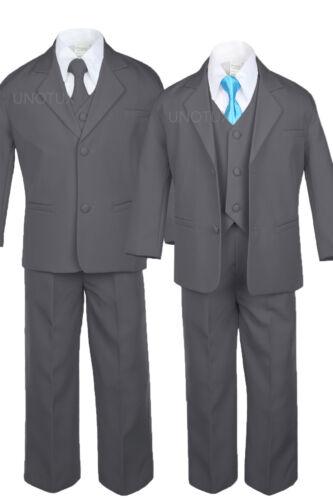 6pc Baby Toddler Kid Formal Wedding Tuxedo Boy Dark Gray Suit Satin Tie Set S-7