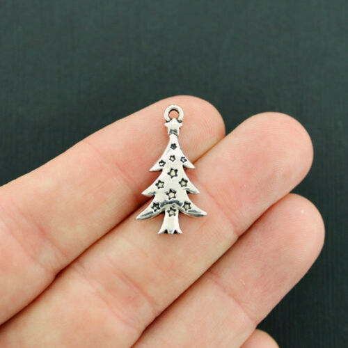 XC083 BULK 50 Christmas Tree Charms Antique Silver Tone