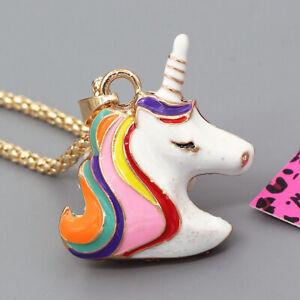 Betsey-Johnson-Colorful-Enamel-Cute-Unicorn-Horse-Pendant-Chain-Necklace-Gift