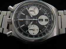 VTGE RARE CITIZEN BULLHEAD 8110 BLACK PANDA OCTAGON CHRONOGRAPH WATCH.  70s.
