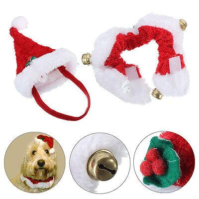 Puppy Dog Cat Santa Hat Collar Cotton Set Pets Christmas Dress Up  Scarf Apparel