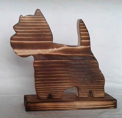 Deko Holz Westie 20,5x19cm Tischdeko Tierfigur Hund Fichtenholz natur