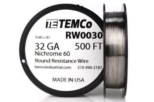 TEMCo Nichrome serie 60 Alambre 32 calibre 500 ft resistencia AWG Ga