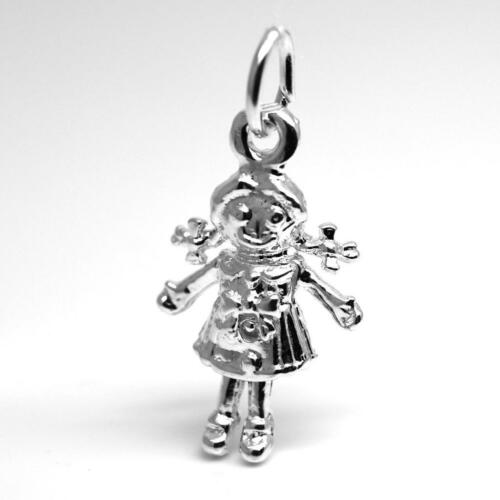 Charm Pendant STERLING  SILVER .925 Ragdoll Toy Rag Doll Moving