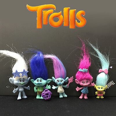 5Pcs/set Movie Trolls Action Figures Poppy Branch Doll Collectible Toy Kids Gift