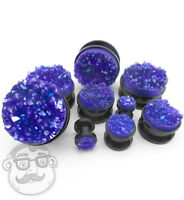 Black Steel Plugs With Purple Druzy Stone - Sizes / Gauges (4g - 1 Inch) -