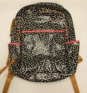 138-NEW-Fossil-KeyPer-Backpack-Canvas-SHB1642005-Black-White-Dots-NWT-Bag