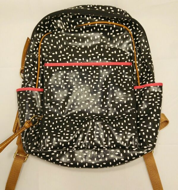$138 NEW Fossil KeyPer Backpack Canvas SHB1642005 Black White Dots NWT Bag