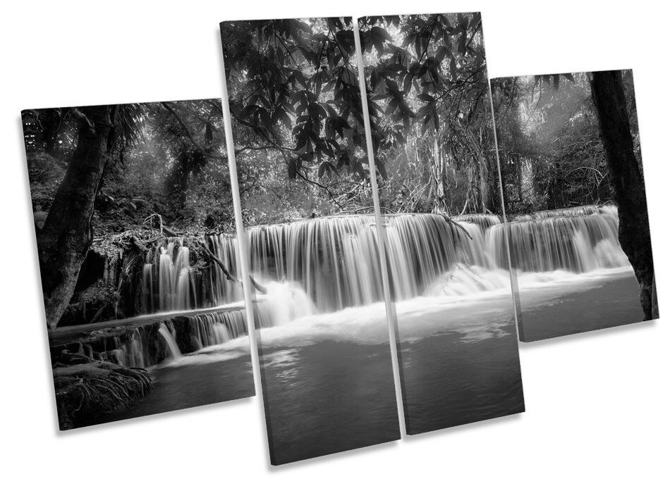 Thailand Waterfall Forest B&W CANVAS WALL ART MULTI Panel Print Picture
