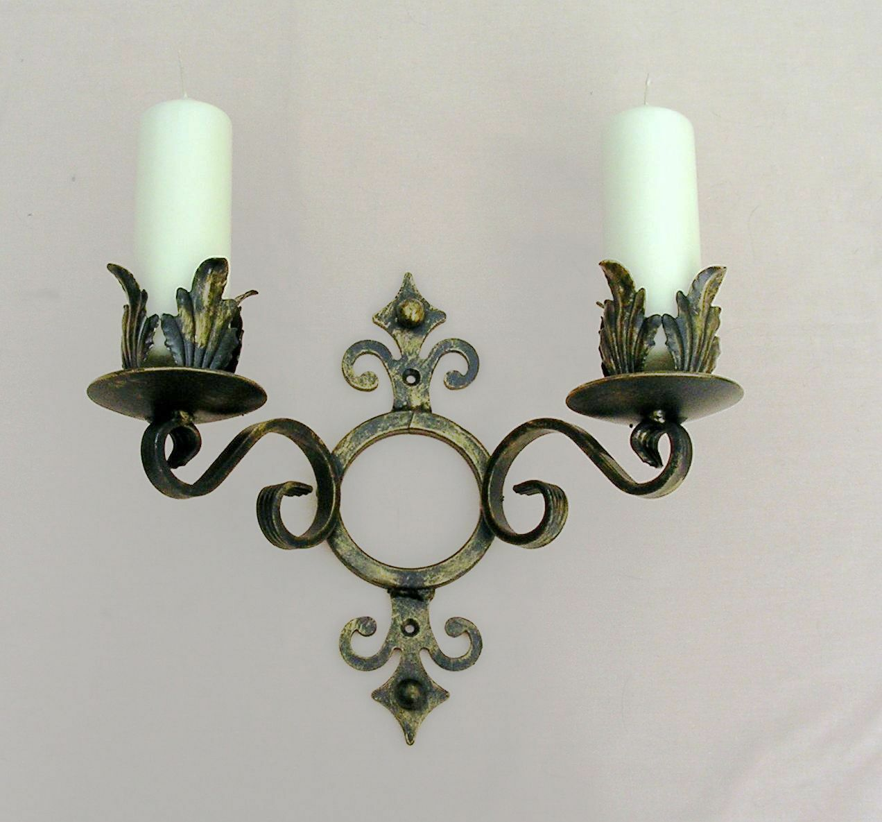 WROUGHT IRON CANDLE WALL SCONCE HOLDER DOUBLE  LARGE H WEIGHT