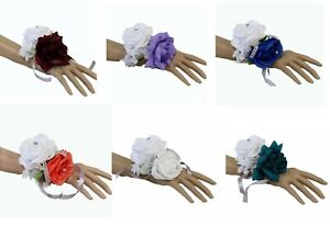 Wrist-Corsage-Two-Rose-Corsage-Pick-1-Color-Rose-Prom-Wedding-Faux-Flowers