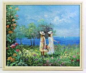 Victorian Era Girls at Beach 20 x 24 Oil Painting on Canvas w/ Custom Frame