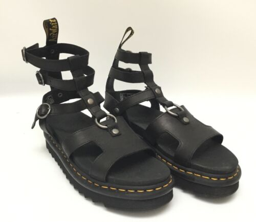 Dr Martens ADAIRA Black Leather Gladiator Platform