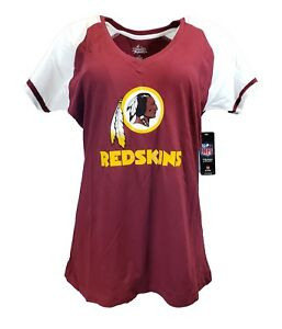 Women-039-s-Washington-Redskins-NFL-Majestic-Logo-V-Neck-T-Shirt-Burgundy-nwt