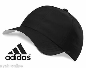NEW adidas BASEBALL CAP  BLACK  PLAIN PERFORMANCE GOLF UNISEX FITTED ... ac4c6da7e05e
